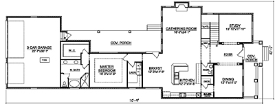 Narrow House Plan 35-03A First Floor Plan