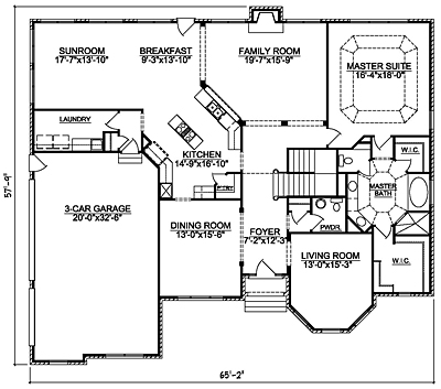 Traditional House Plan 40-02 First Floor Plan