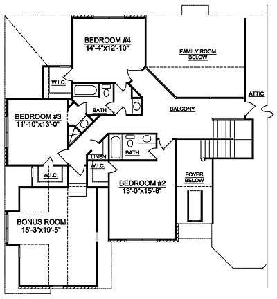 traditional Home Plan 40-02 Second Floor Plan