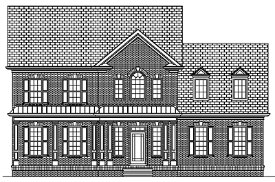Two Story Colonial Style Narrow Lot House Plan 41-03A