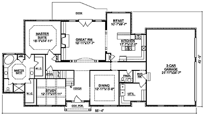 French Country House Plan 44-03 First Floor Plan