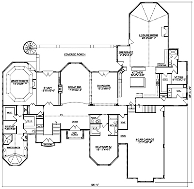 LuxuryHouse Plan 84-01 First Floor Plan